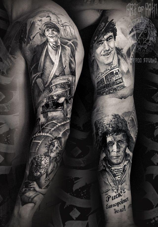 Татуировка мужская реализм тату-рукав персонажи кино – Мастер тату: Слава Tech Lunatic