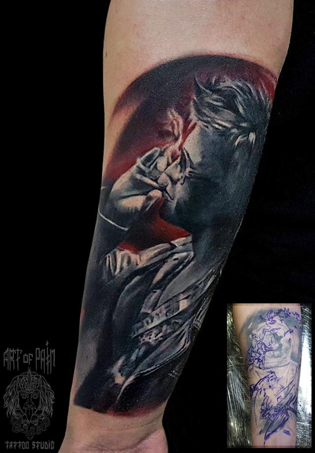 Татуировка мужская реализм на предплечье человек с сигаретой кавер – Мастер тату: Слава Tech Lunatic