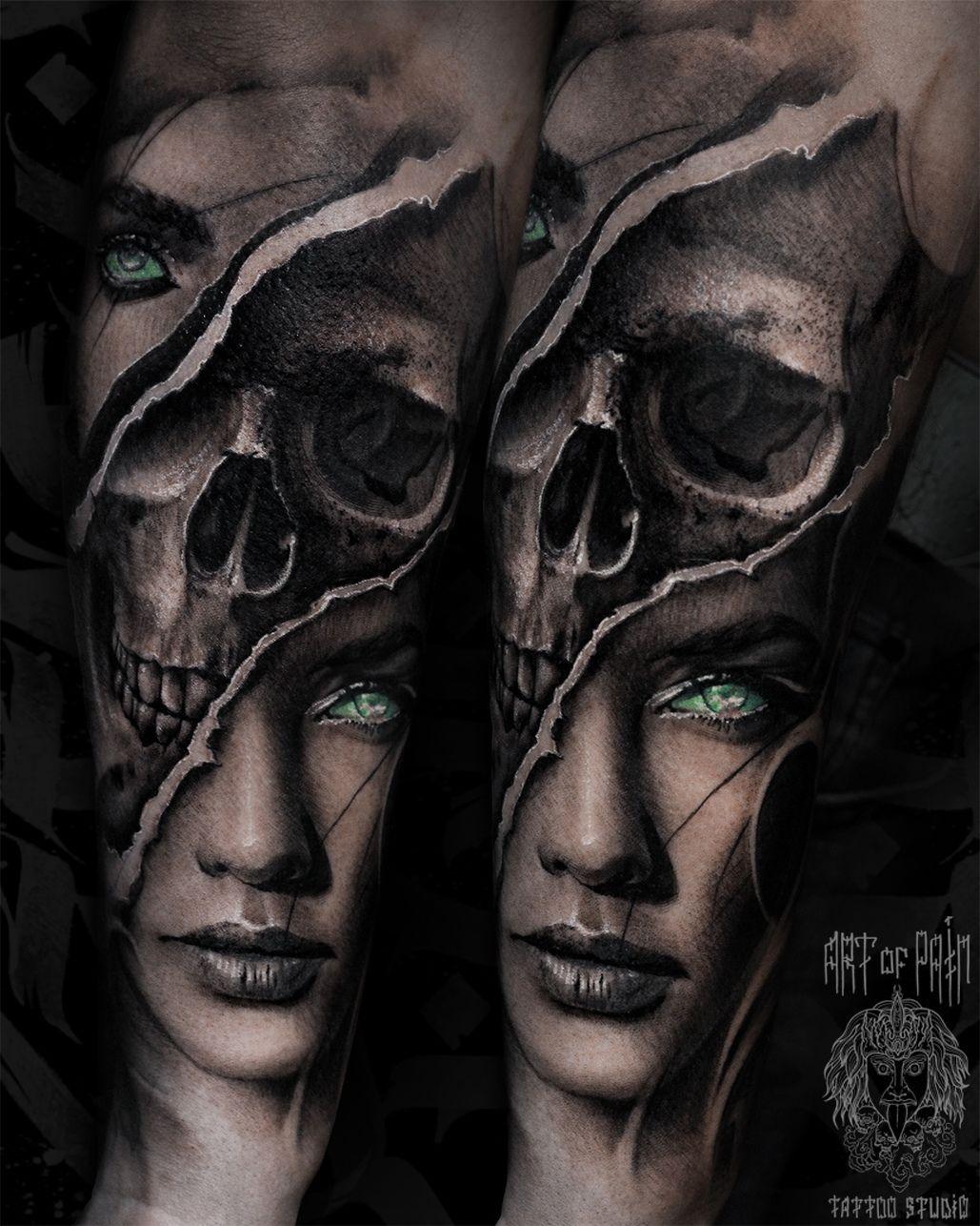 Татуировка мужская black&grey на предплечье зеленоглазая девушка и череп – Мастер тату: Слава Tech Lunatic