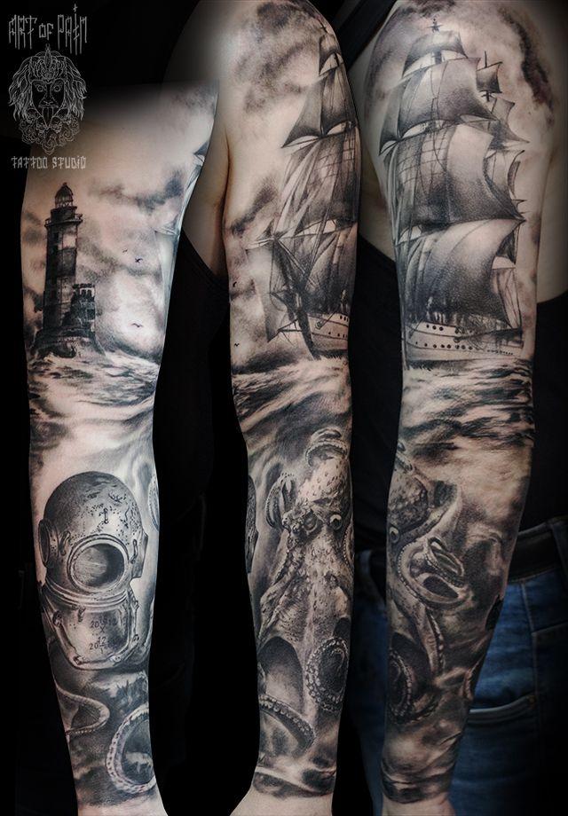 Татуировка мужская реализм на руке «Корабль, маяк и спрут» – Мастер тату: Слава Tech Lunatic