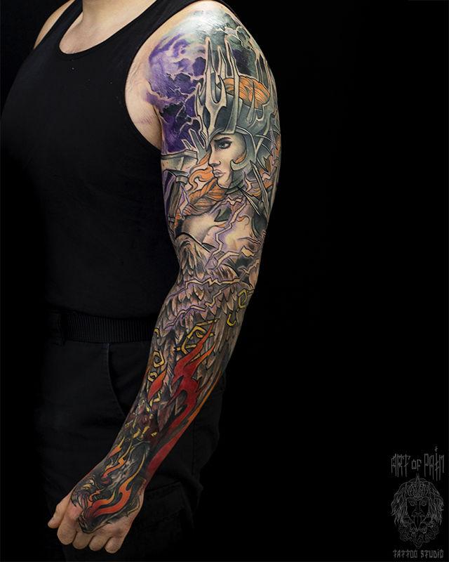 Татуировка мужская нью-скул на тату-рукав девушка – Мастер тату: