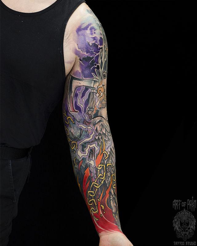 Татуировка мужская нью-скул на тату-рукав ангел – Мастер тату: