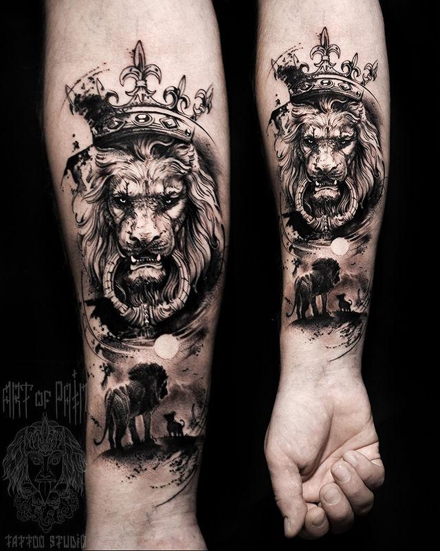 Татуировка мужская графика на предплечье лев – Мастер тату: Слава Tech Lunatic
