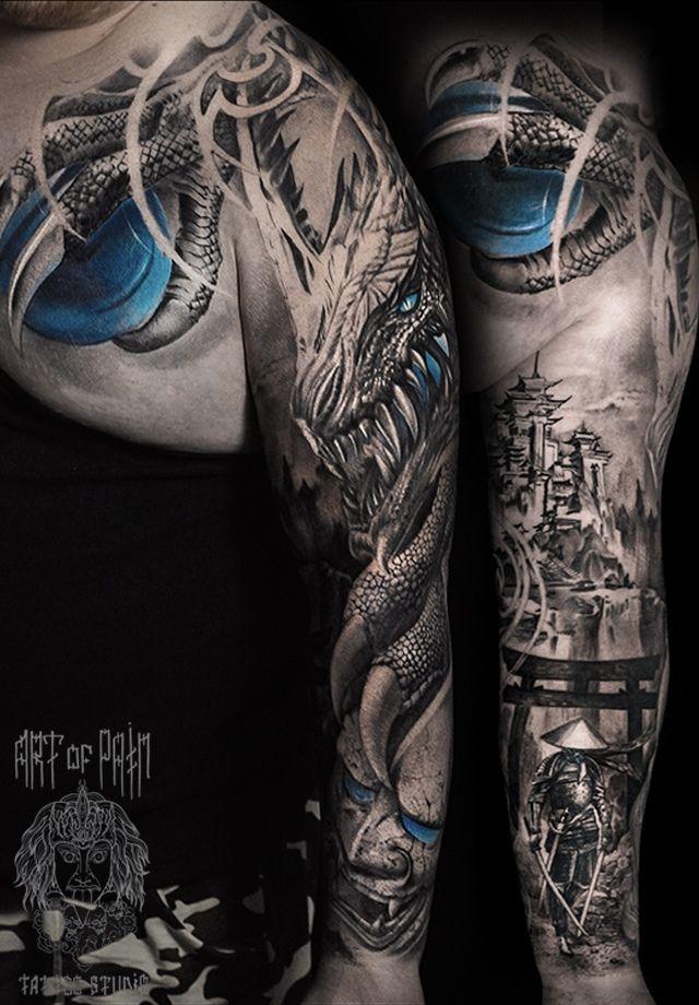 Татуировка мужская фентези тату-рукав дракон – Мастер тату: Слава Tech Lunatic