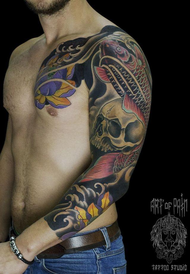Татуировка мужская Япония рукав череп, рыба и цветы – Мастер тату: Ольга Добрякова