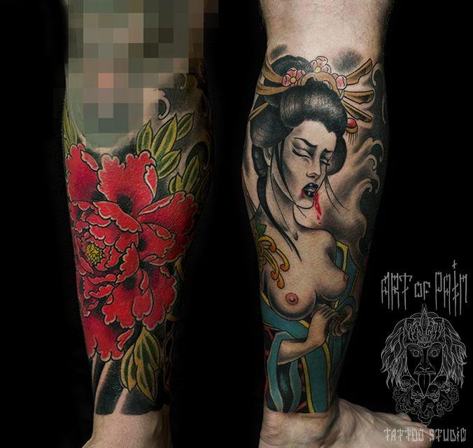 Татуировка мужская япония на икре цветы – Мастер тату: Ольга Добрякова