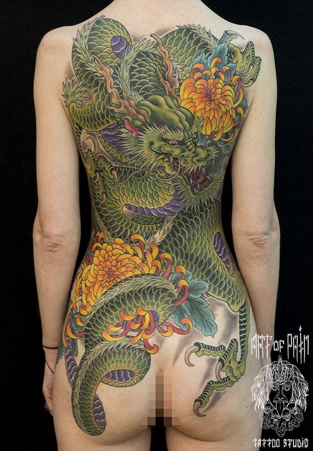 Татуировка женская япония на спине дракон – Мастер тату: Ольга Добрякова