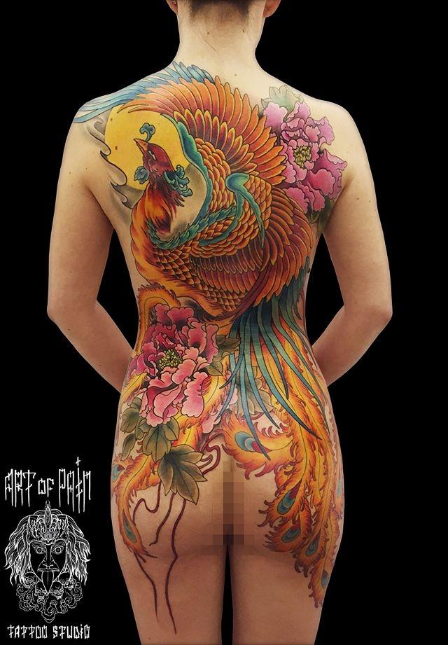 Татуировка женская япония на спине феникс – Мастер тату: Ольга Добрякова