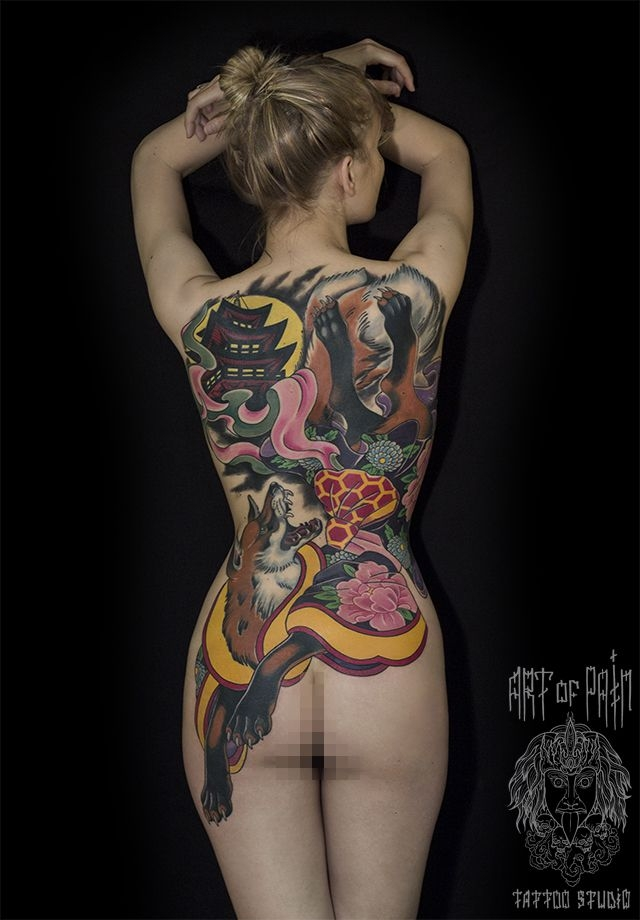 Татуировка женская япония на спине лисица – Мастер тату: Ольга Добрякова