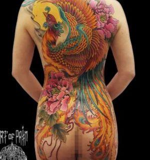 Японская тату Хоу Оу на спине