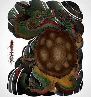 Мифическое существо Черепаха-дракон (Биси) в японской татуировке