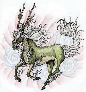 Мифическое существо Кирин в японской татуировке
