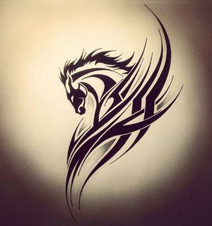 Эскиз тату в стиле трайбл: лошадь