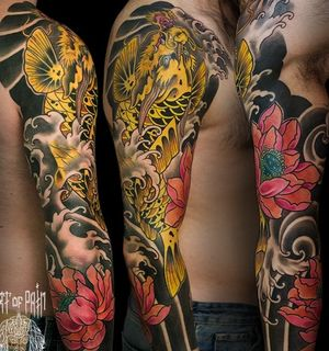 тату-рукав в традиционном японском стиле
